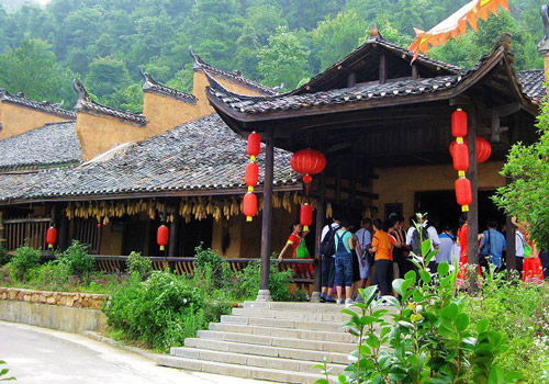 Houses of Tujia minority in Yangjiajie Scenic Area in Zhangjiajie Forest Park,Wulinyuan District,Zhangjiajie City,Hunan Province