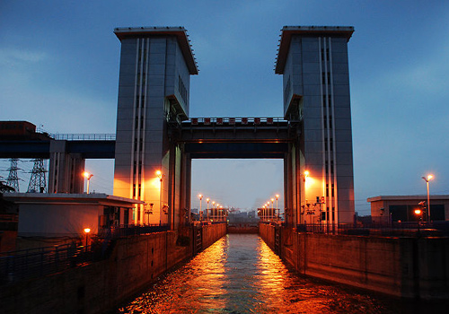 Gezhouba Dam at night,Yichangcity,Hubei Province.