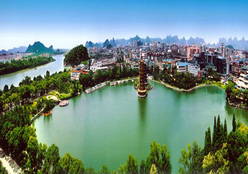 the panorama of China Fir Lake of Guilin