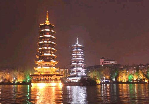 The Sun and Moon Pagodas have become the new emblem of China Fir Lake.