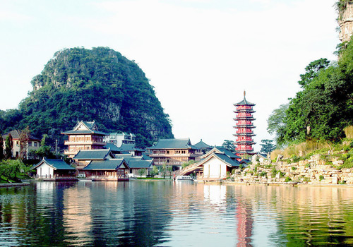 the panorama of Mulong Lake of Guilin