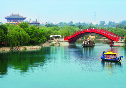 The Rainbow Bridge in Millennium City Park,Kaifeng