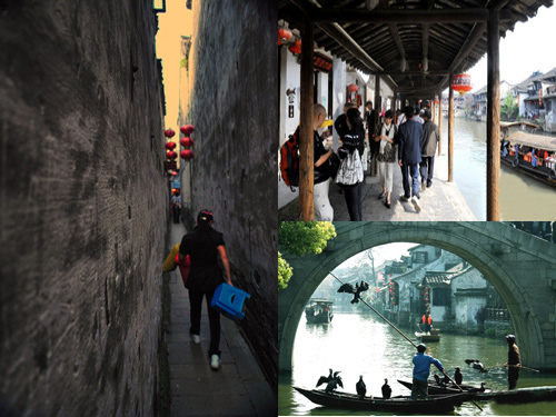 The alley,the roofed corridor,the bridge,the river,and the leisure life in Xitang Ancient Town of Zhejiang.
