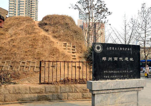 A section of city wall of Shang Dynasty City Ruins in Zhengzhou,Henan Province