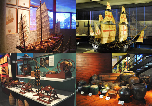 Models of sailboats,navigation instruments and trading goods shown in Maritime Museum of Macau