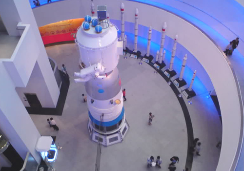 The main hall of Macau Science Center stands the model of Shenzhou VI spacecraft of China.