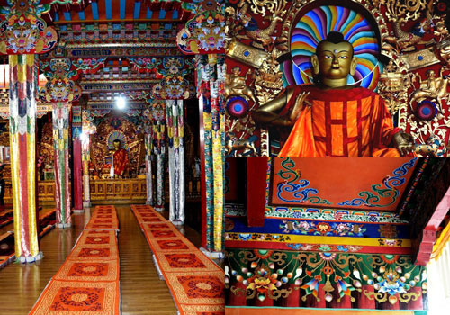Sakya Monastery contains myriad invaluable relics such as resplendent and tall Buddha statues,colorful frescoes,and countless Buddhist scriptures.