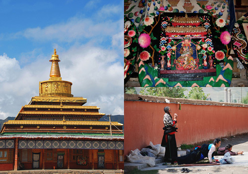 Pagoda,butter flower and worshippers in Labrang Monastery in Xiahe,Gansu Province.