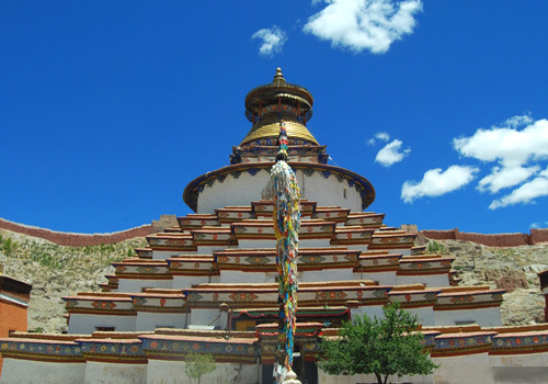Kumbum Stupa is the most eye-catching architecture in Pelkor Chode Monastery,Gyantse.