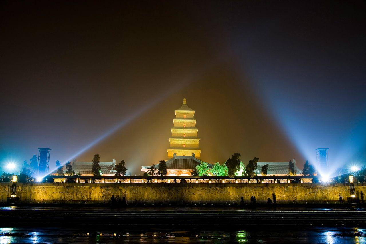 Night Scene, Big Wild Goose Pagoda, Xi'an