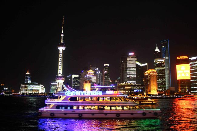 The beautiful night scene of Huangpu River, Shanghai