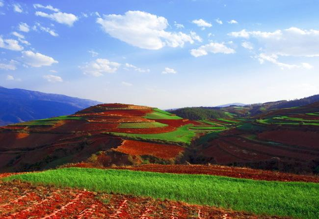 The Red Land of Dongchuan is especially renowned for its marvelous and beautiful landscapes.