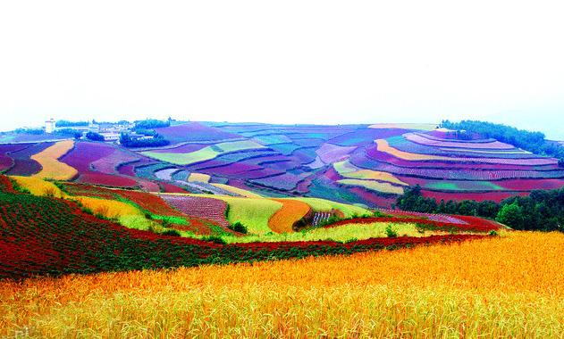 Dongchuann Red Land of Kunming was praised as the lost palette of god, colorful and gorgeous rainbow.