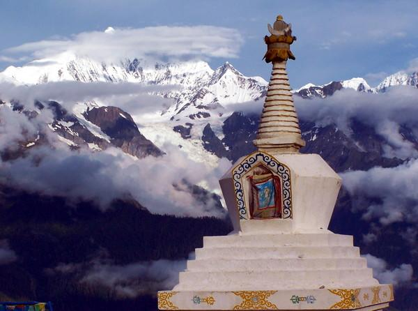 The white stupa and Meili Snow Mountain, Diqing(Shangri-la)