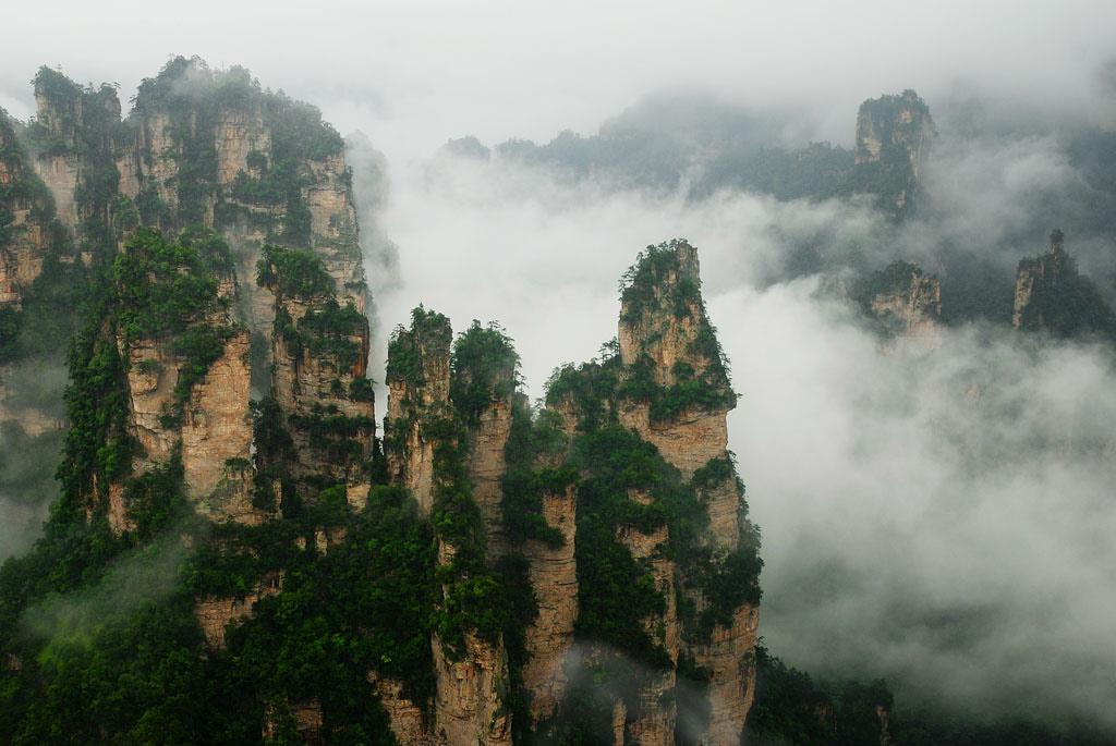 Tianzi Mountain in Clouds