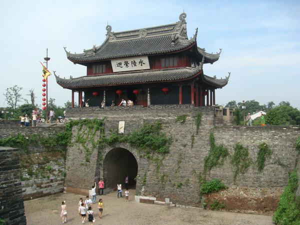 The gate pavilion and the ancient city wall of Panmen, Suzhou