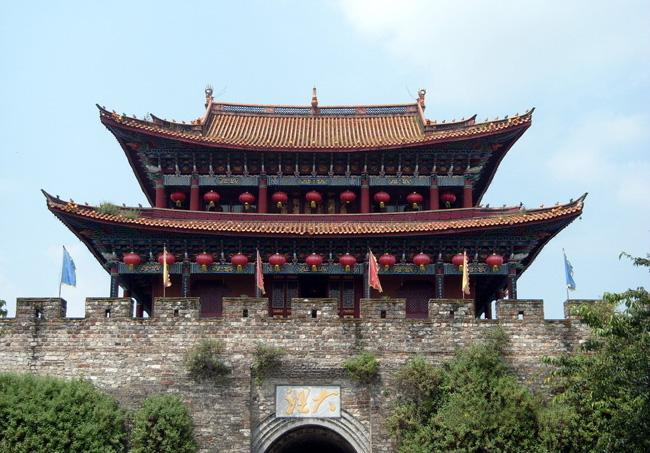 A close shot of the south gate of the Ancient City of Dali.