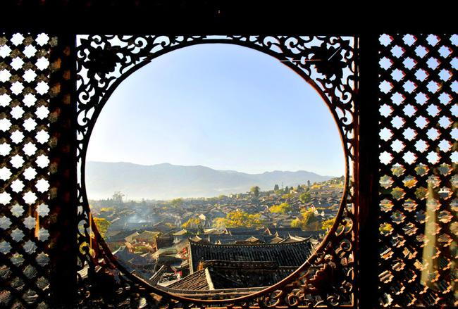 A view of the Ancient City of Dali from a antique lattices.