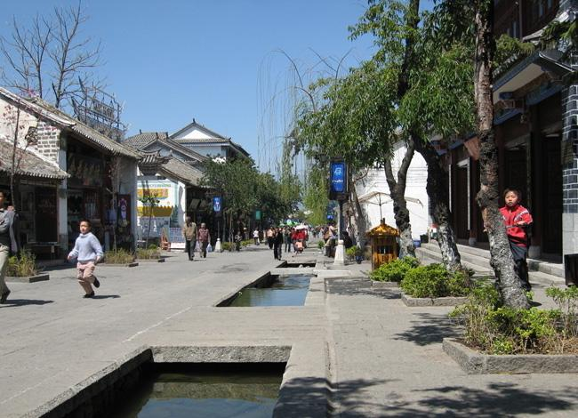 Waters flow through the ancient city of Dali.