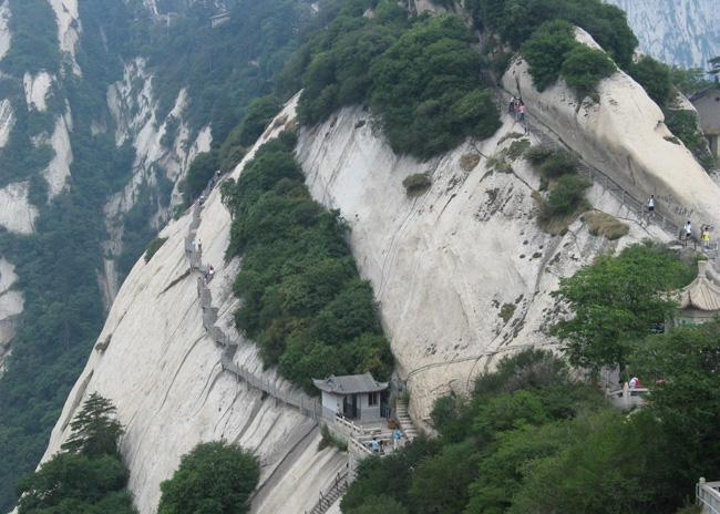 Huashan Mountain is famous for its steepness.