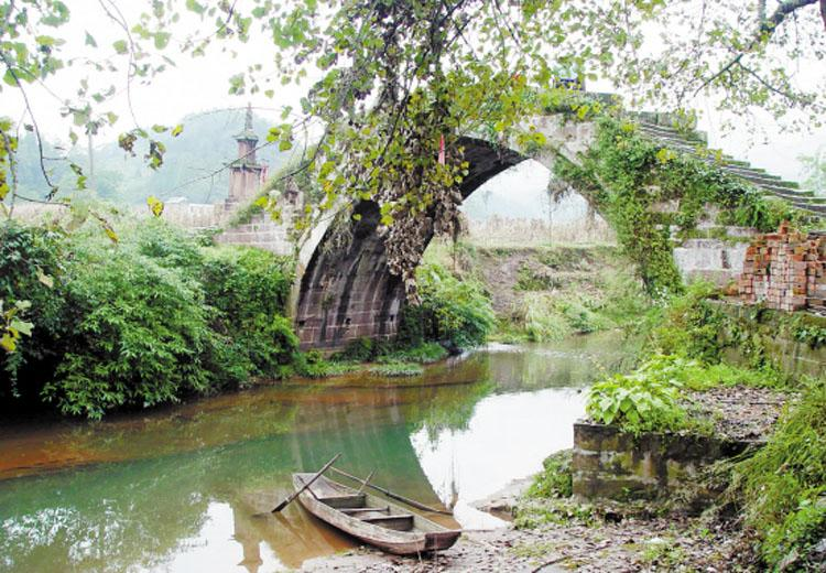 Double Immortals Bridge in Shangli Ancient Town,Chengdu