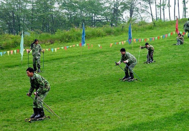 Grass-skiing at Xiling Snow Mountain Ski Resort, Chengdu