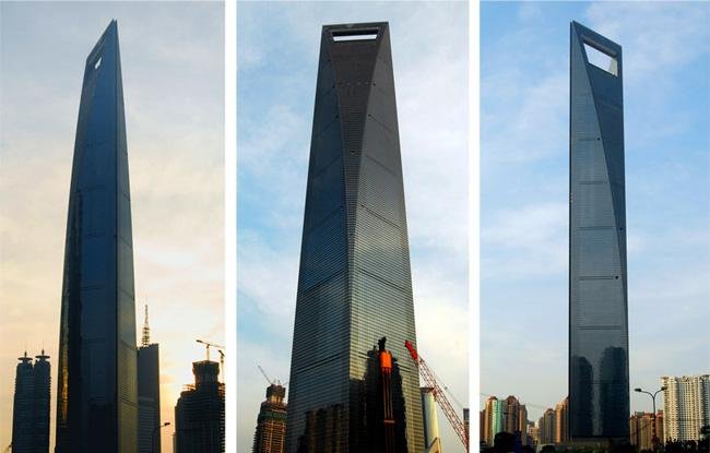 The Shanghai World Financial Center in different angles.