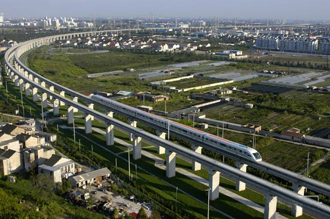 The Maglev Train in Shanghai runs between Longyang Road and Pudong International Airport.