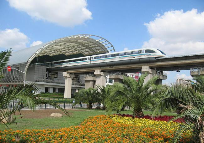The departing Maglev Train at the exit, Shanghai