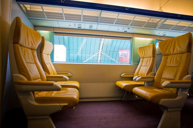 The interior of the Maglev Train in Shanghai.
