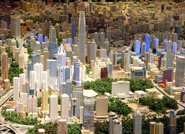 The model of the urban planning of Shanghai.