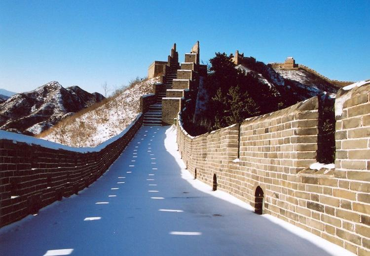 Jinshanling Great Wall Under Thin Snow