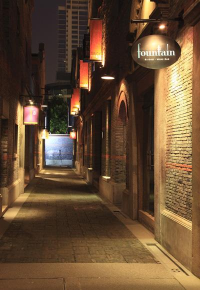 A night view of the lane in Xintiandi, Shanghai