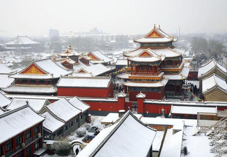 Scenery of Yonghe Lamasery Scenic Area in Winter