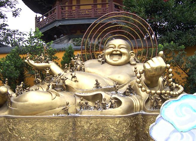 The gold Buddha statue in the temple, Shanghai