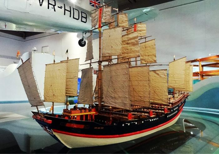 The model showing how sailing ship sails with the wind or against the wind.