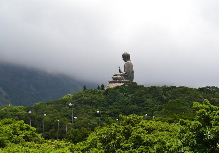 A side view of the Tiantan Buddha Statue from distance, Hong Kong