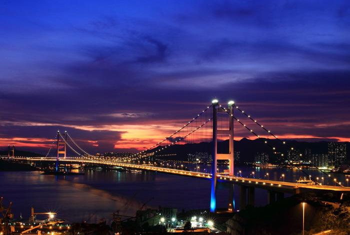 Tsing-Ma Bridge at sunset, Hong Kong