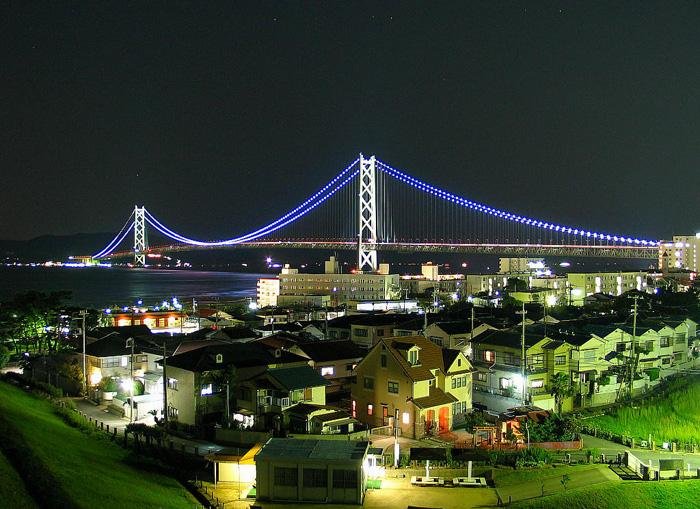 The night scene of Tsing-Ma Bridge and it surrounding dewellings.