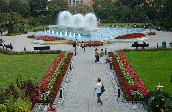 The fountain square of Hong Kong Zoological and Botanical Gardens.