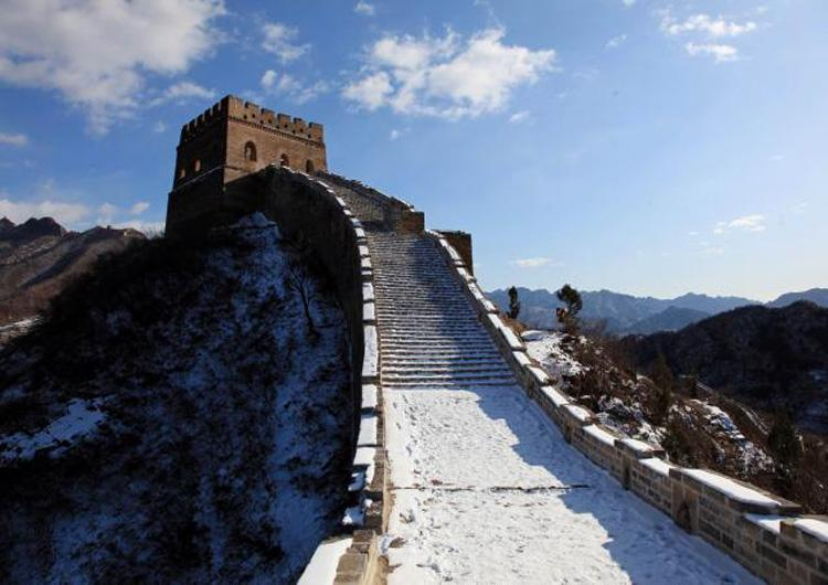 Simatai Great Wall of Beijing Under Thin Snow