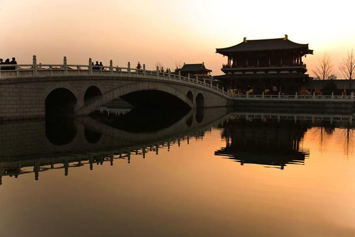 The bridge and Tang style building in Tang Paradise, Xi'an