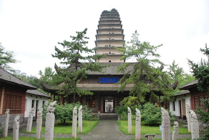 The Small Wild Goose Pagoda located inside the Jianfu Temple in Xi'an.