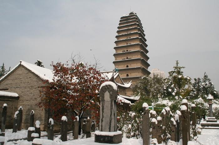 A snow view of the Small Wild Goose Pagoda