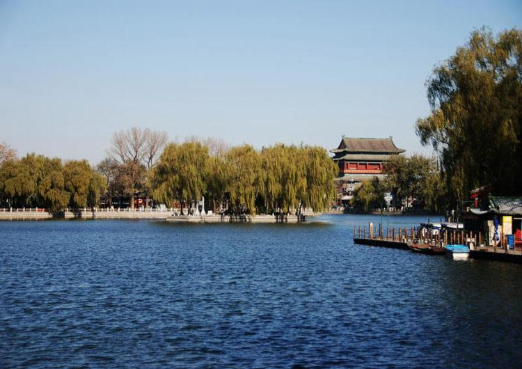View of Drum Tower in Beijing Shichahai Scenic Area from a Distance