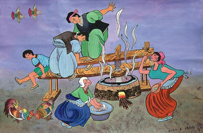 A farmer's painting showing the dinner cooking time of a family.