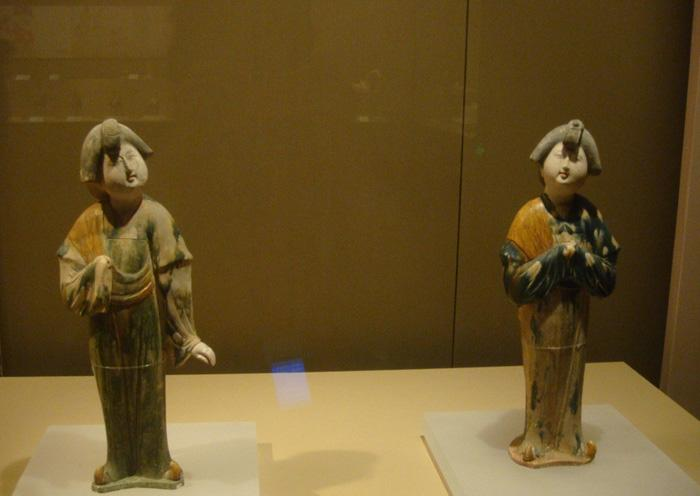 The tri-coloured glazed pottery of the Tang Dynasty exhibited in Xi'an Museum.