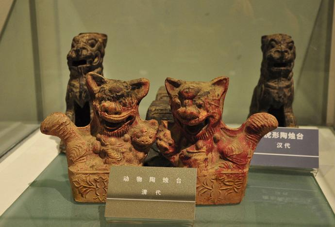 The ancient candleholders exhibited in the museum, Xi'an