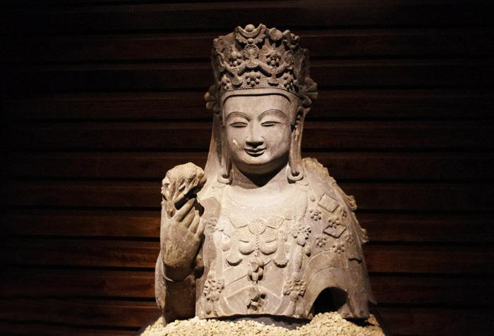 The ancinet Buddha exhibited in the museum