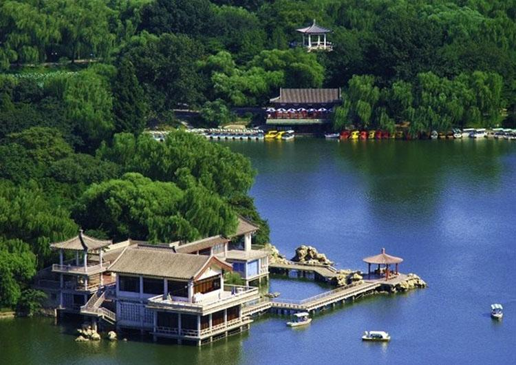 Waterside Pavilions of Purple Bamboo Courtyard along Chang River in Beijing